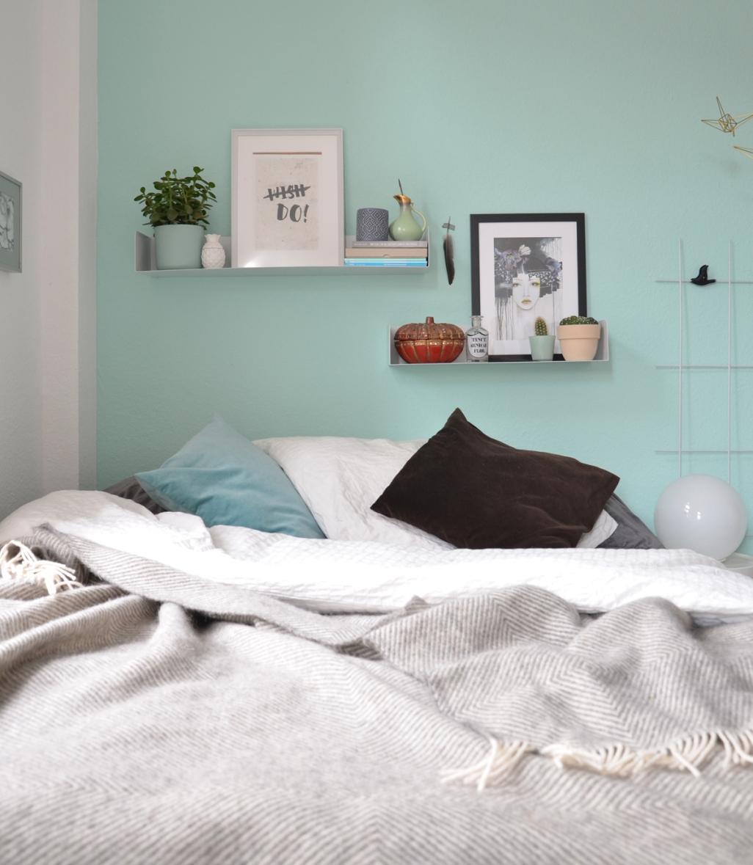 Wandfarbe Mint im Schlafzimmer | annablogie