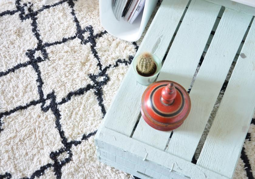 Beni Ourain-Teppich mit DIY Couchtisch
