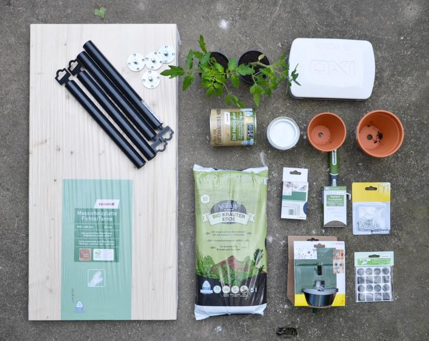 Material für die DIY Pflanzenbank